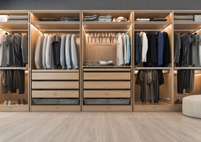 Men walk in wardrobe